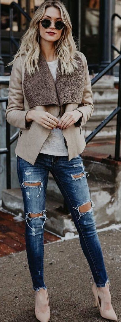 #winter #outfits beige and brown coat; blue distressed jeans