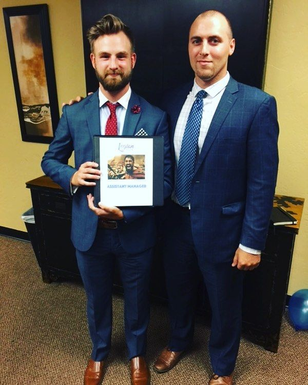 Legion's newest Assistant Manager Christian with CEO Dan! With such studs it's no surprise of their accomplishment  . . . #promotion #congrats #business #suitup #igers #okc #goals #winning #success #mm #team #dynamicduo #legioneliteokc #fashion #tie #amazing #potd