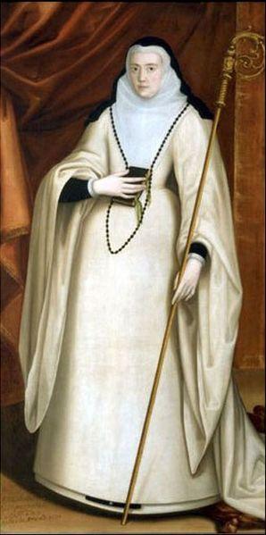 La abadesa María Ana de Austria. Retrato de María Ana de Austria (1568- 1629), que era hija ilegítima de Don Juan de Austria (hijo ilegítimo a su vez del emperador Carlos I de España), y que llegó a ser abadesa del monasterio de las Huelgas de Burgos,donde está enterrada.Siglo XVII.oil on canvas. Abbey of Santa María la Real de Las Huelgas.