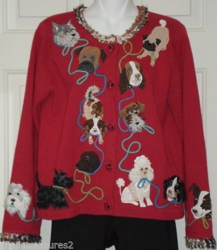 Design Options Ladies Small DOGS Sweater Poodle Scottie ...