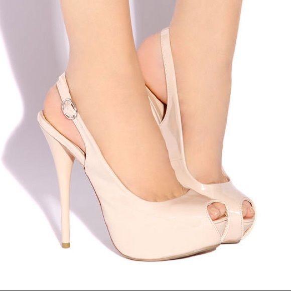 Peep toe platform heel, Nude Brand new. Nude heels. Platform. Peep toe. Adjustable ankle strap. Hidden platform Shoes Heels
