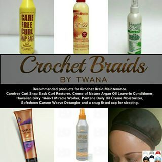 Recommended products for Crochet Braid Maintenance. Carefree Curl Snap Back Curl Restorer, Creme of Nature Argan Oil Leave-In Conditioner, Hawaiian Silky 14-in-1 Miracle Worker, Pantene Daily Oil Creme Moisturizer, Softsheen Carson Weave Detangler & a snug fitted cap for sleeping (not a loose bonnet). #crochetbraids #protectivestyles #hairextensions #teamnatural #bohemian #crochetbraidsbytwana #bobbibossbulkhair #waterwave #bohemian #isishair #fauxremi #fauxremy #cubanripple #curlyfro…