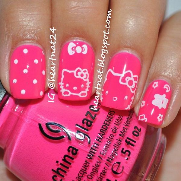 25 trending hello kitty nails ideas on pinterest kitty nails cute hello kitty nail art designs prinsesfo Gallery