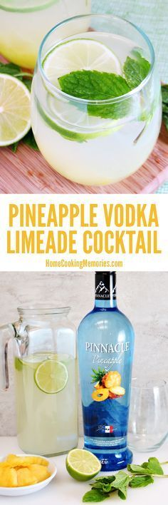 This Pineapple Vodka Limeade is a refreshing, easy cocktail recipe that is perfect for summer! You can shake these up in minutes and you'll need just 4 ingredients: pineapple vodka, limeade, fresh pineapple, and mint leaves. #cocktailrecipes