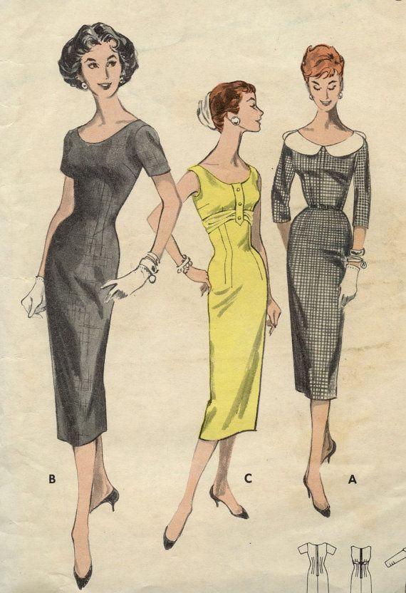 1950s Vintage Butterick 8056 Pattern Misses Scoop Neck ...