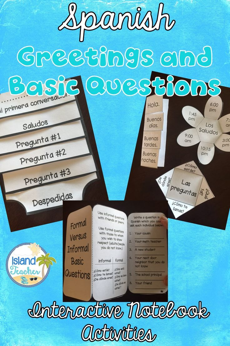 Spanish Greetings, Farewells, and Basic Questions Interactive Notebook templates.
