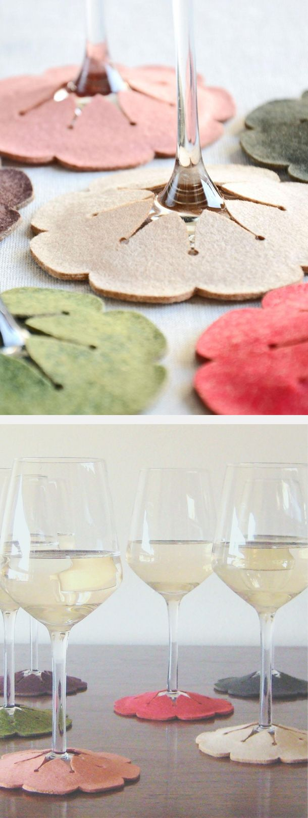 Stay-on felt wine coasters // such a brilliant yet simple idea #product_design I reckon I could make these