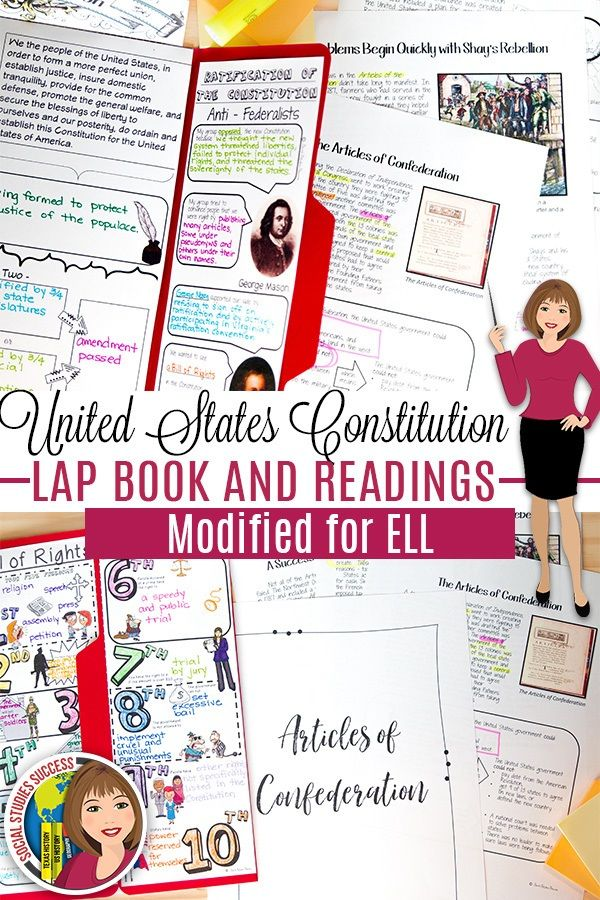 THE CONSTITUTION LAP BOOK Template For ELL Or 5th Grade