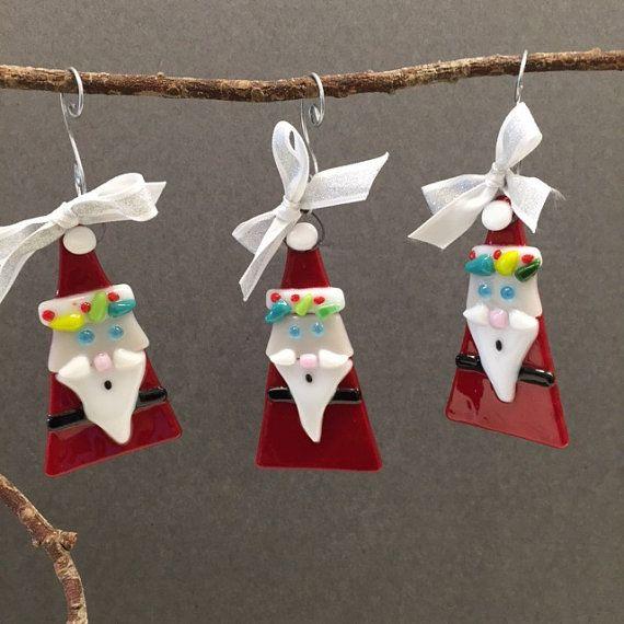 Three Fused Glass Santa Claus by Artglassbystraub on Etsy