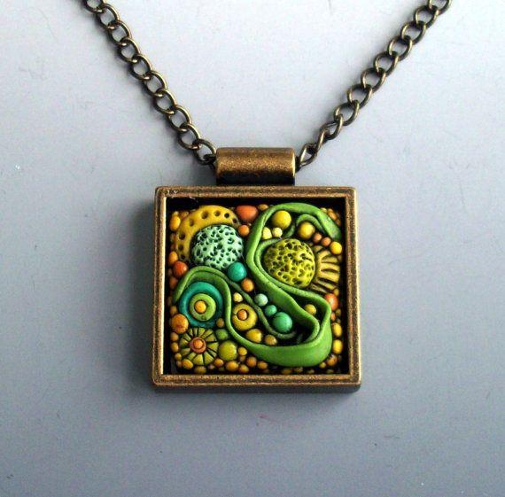 Polymer Clay Necklace Enchanted Garden by MandarinMoon on Etsy