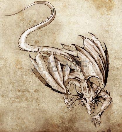 Schets van tattoo kunst moderne draak Stockfoto