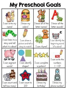 This preschool skill goal sheet is a one page sheet of typical skills that a preschooler may learn. It is a fun and very visual way for the kids to see what skills they have mastered and document the child's learning. When a skill has been mastered, the child can put a sticker in the box.