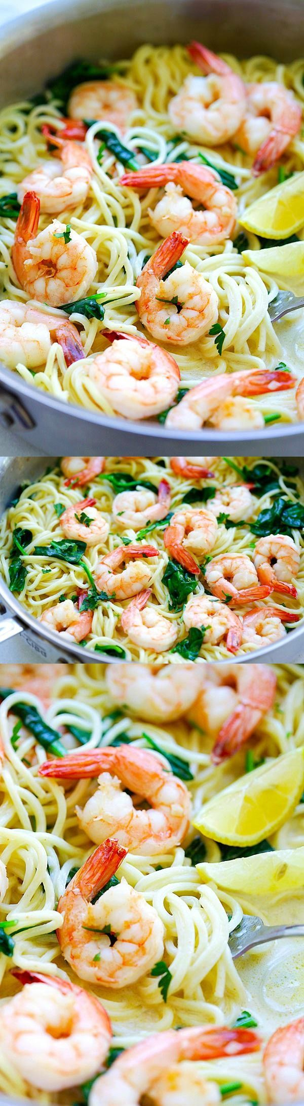 Creamy Shrimp Pasta Creamy Shrimp Pasta – easy pasta recipe with shrimp, spaghetti in a buttery and creamy sauce. Cooked in one pot, dinner is ready in 20 mins   http://rasamalaysia.com