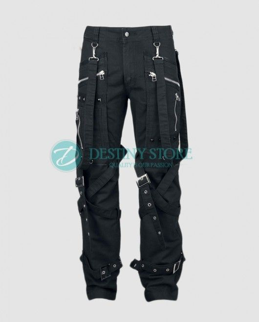 Men Womb Straps Gothic Pant    Womb Straps Goth Pant comes with the lot of straps work. The Midwestern Goth Pant featuring the two side deep and wide pockets with zipper and eyelets details.