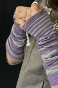 Harajuku Garden Arm Warmers in lilac and gray -- great for keeping fingers less frozen and wrists less stiff when working at a computer all day $14