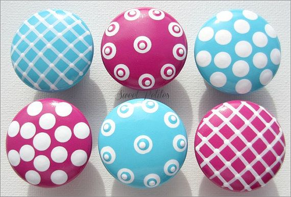 Hand Painted Knobs - Dresser Drawer - Hot Pink - Turquoise - Textures - Kids Dresser Knobs on Etsy, $6.00