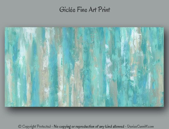 Teal Wall Art Abstract Painting Giclee Fine Art Print Mint Green Home Decor Bedroom Office Large Artwork Extra Wide Panoramic