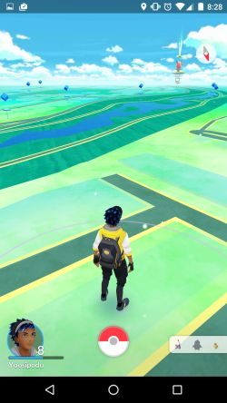 Screenshot of Pokémon Go. In an article on 3 Quarks Daily Johan J. John maps connections between the augmented reality MMORPG and psychogeography language and Philip K. Dicks idea of the Black Iron Prison.