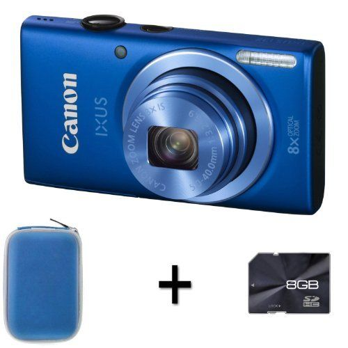 Canon IXUS 132 - Blue + Case and 8GB Memory Card (16MP, 28mm Wide Angle,8x Optical Zoom) 2.7 inch LCD by DiscountedDigital, http://www.amazon.co.uk/dp/B00B9BUJL4/ref=cm_sw_r_pi_dp_KU6Nsb0X8GDCV