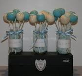 Blue and white cake pops for a Cinderella themed birthday party (for my daughter)