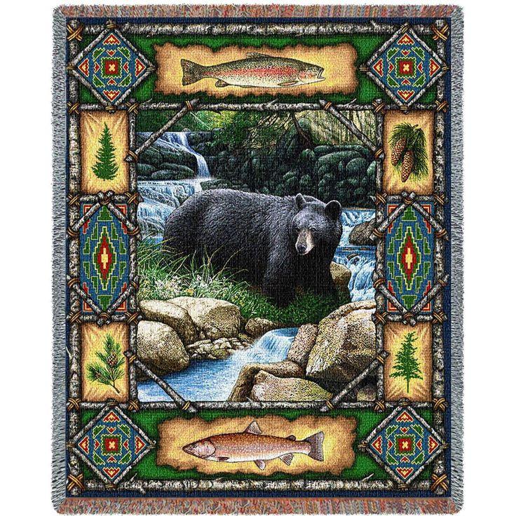 Bear Lodge Art Tapestry Throw