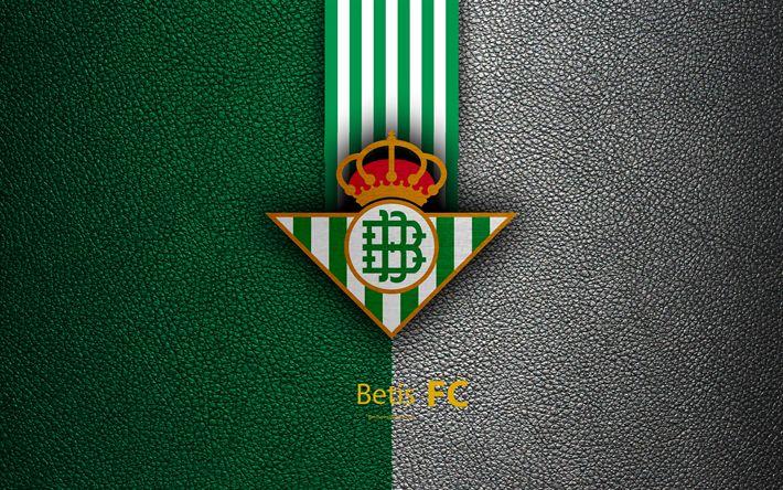 Download wallpapers Real Betis FC, 4k, Spanish football club, La Liga, logo, emblem, leather texture, Bilbao, Spain, football