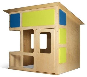 Cute, simple playhouse idea that is easy to knock down when not feasible to have up (weather, need space, whatever). Lol at $1500, though... it's about $100 of plywood!
