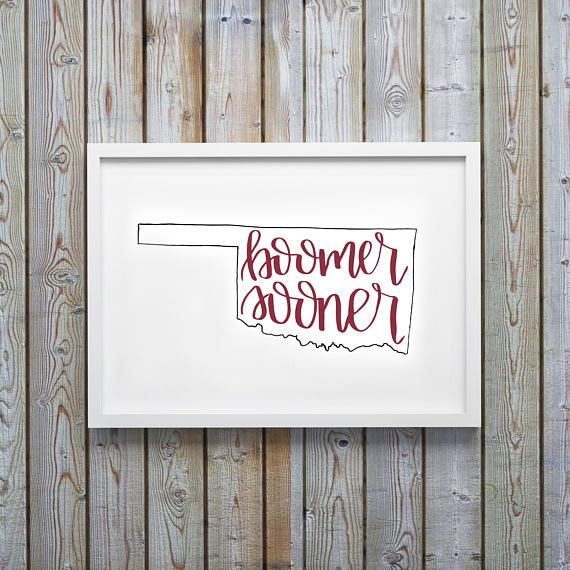 Boomer Sooner University of Oklahoma Printable Art Instant Download Handwritten Calligraphy Lettering OU Print College Dorm Room Decor