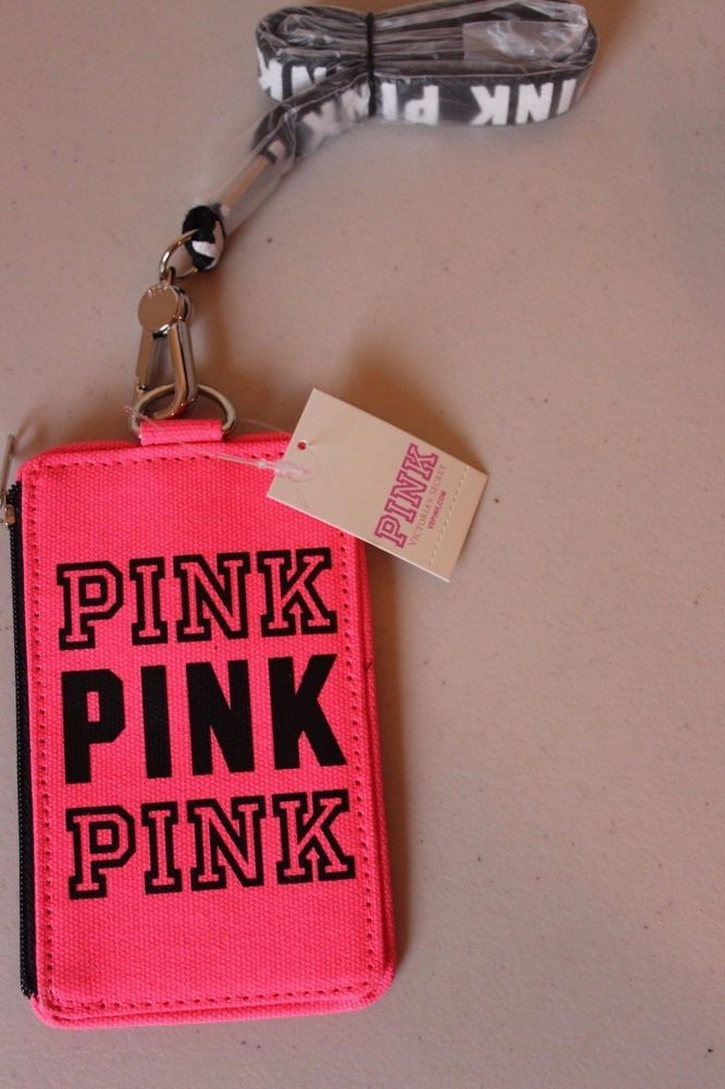 Pink Victoria's Secret ID Card Holder Lanyard Wallet Limited Edition PINK - NEW #VictoriasSecretPINK