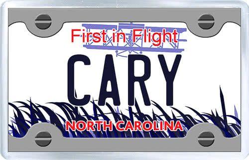 $3.29 - Acrylic Fridge Magnet: United States. License Plate of Cary North Carolina