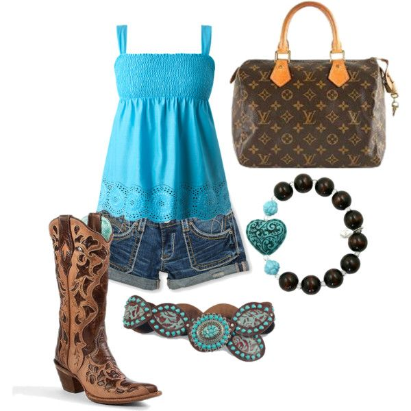 brown and blue: Blue 3, Country 3, Bracelets, Country Summer, Paintings Outfits I Cr, Summer Outfits, Brown, Cowboys Boots, Blue Outfits I Cr