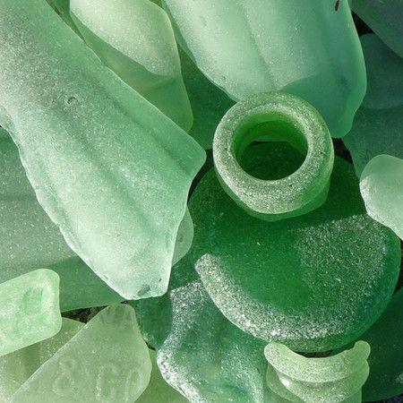 Jade sea glass by the sea shore.
