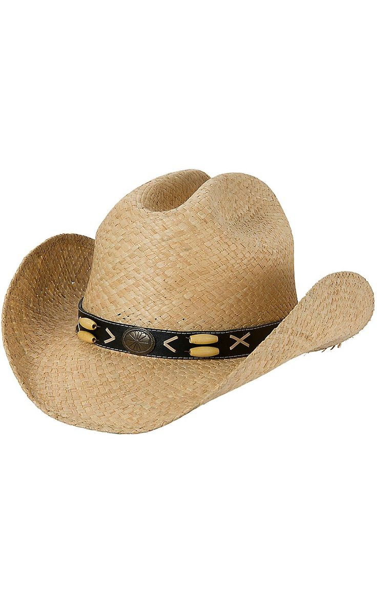Cavenders Natural Raffia Cattleman Crown w/ Beaded Band Straw Cowboy Hat | Cavender's
