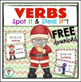 """FREE LANGUAGE ARTS LESSON - """"VERBS Spot It & Steal It ~ Christmas Theme"""" - Go to The Best of Teacher Entrepreneurs for this and hundreds of free lessons. Kindergarten - 2nd Grade  http://www.thebestofteacherentrepreneurs.com/2016/11/free-language-arts-lesson-verbs-spot-it_23.html"""