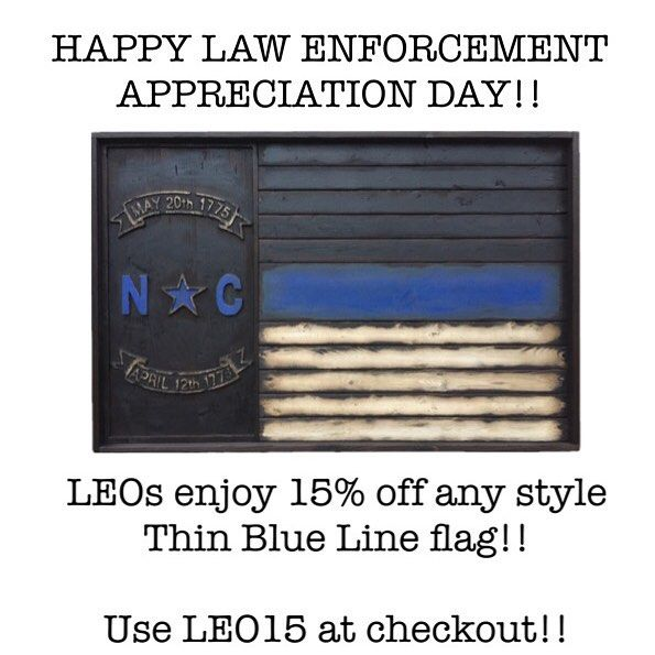 Happy Law Enforcement Appreciation Day!  All LEOs get 15% off any style Thin Blue Line flag all week! Just put your station/precinct name in the order notes! Use LEO15 at checkout!! #leos #cops #bluelivesmatter #fdny #emt #nypd #lapd #thinblueline #thinbluelinefamily #murica #military #brothersinarms #usaf #airforce #army #marines #grunt #ranger #veterans #specops #thinredandblueline #thingoldline