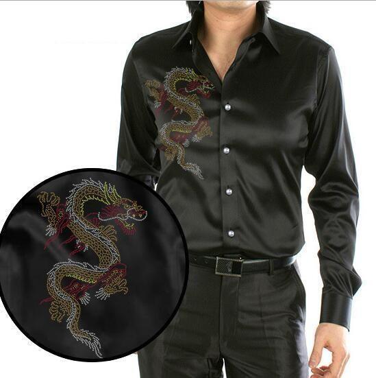 Black Design Chinese Dragon Printing Men's Silk Shirt Casual Long Sleeve Wedding Shirt Party Shirt