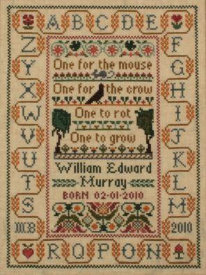 Moira Blackburn cross stitch sampler - One for the mouse, one for the crow, one to rot, one to grow