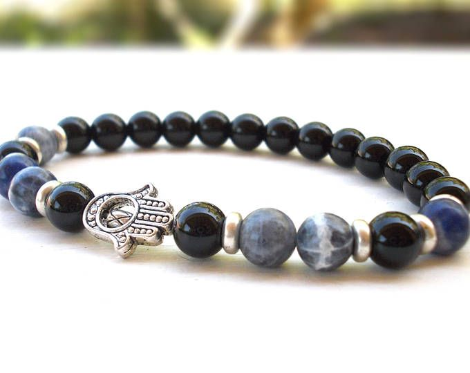 Onyx and Sodalite Hamsa bracelet, Mens Hamsa hand bracelet, Protection bracelet, Good Luck bracelet,  Fatima hand bracelet, Gemstone jewelry