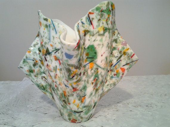 Fused Glass Vase, Confetti Art Glass Vase Candle Holder, Kiln Formed Glass Sculpture