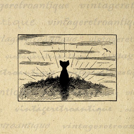 Printable Cat and Sunset Image Graphic Download Illustration Digital Vintage Clip Art. High resolution, high quality digital image graphic. This vintage printable digital illustration works well for transfers, printing, papercrafts, t-shirts, pillows, and more great uses. Antique artwork. This graphic is high quality at 8½ x 11 inches large. Transparent background version included with every graphic.