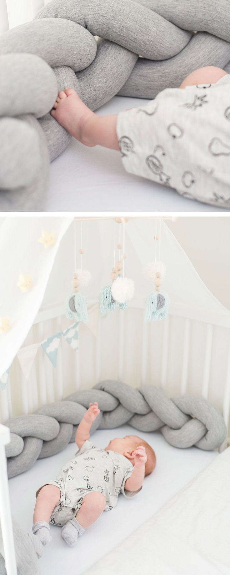 Geflochtene Bettschlange fürs Babybett, Baby Nest, Erstausstattung fürs Baby / braided baby bed made of soft jersey, nursery interior made by Annie und Ava via DaWanda.com