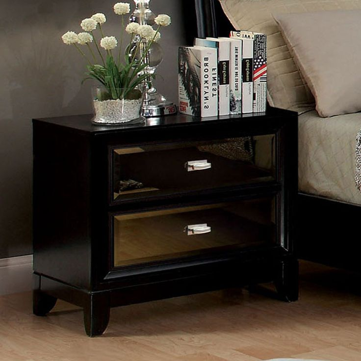 Golva Contemporary Style Black Finish Bedroom Nightstand