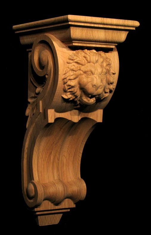 Wood Carved Lion Corbel - Oak Leaves