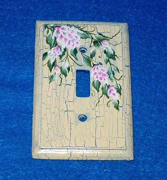 decorative hand painted shabby chic light switch plate wood wall cover single decorative - Decorative Switch Plates