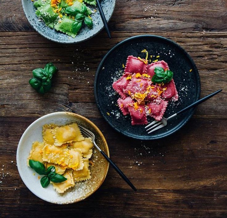 Ravioli: spinach, beetroot + butternut w orange butter sauce (recipe) | Madeline Lu, for KitchenAid USA