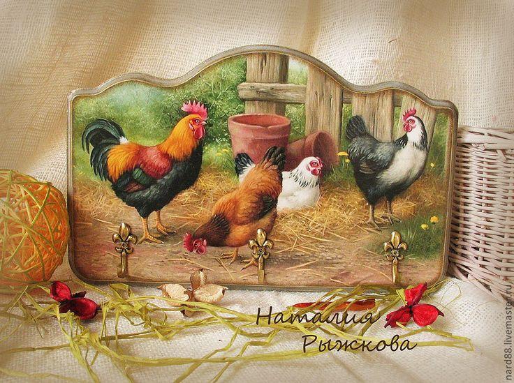 Купить вешалка-ключница Птичий двор - коричневый, вешалка-ключница, Вешалка для полотенец, вешалка декупаж