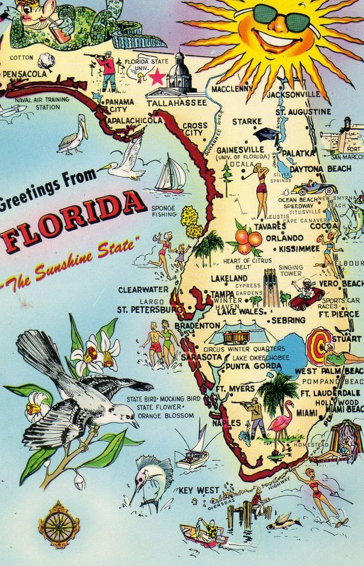 Florida post card map (notice Disney is not on the map. Not until it opened in 1971}