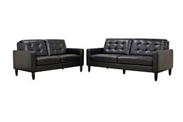 Baxton Studio Caledonia Black Leather Modern Sofa Set Caledonia Black Leather Modern Sofa Setwholesale, wholesale furniture, restaurant furniture, hotel furniture, commercial furniture
