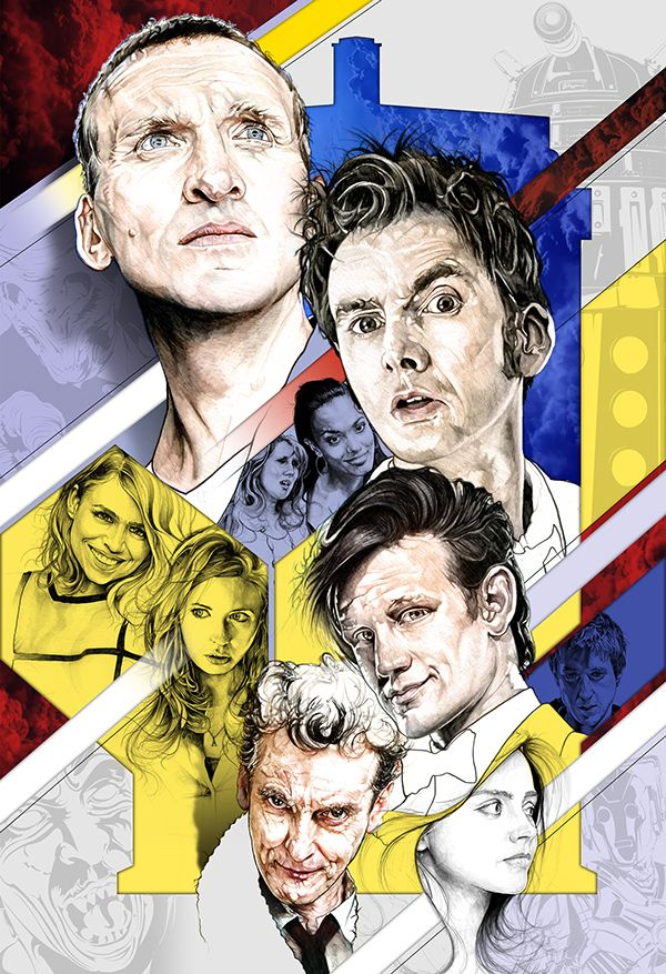 Doctor Who, 27x40, Comiplation, Pencil w/ Digital Background & Color - Behance