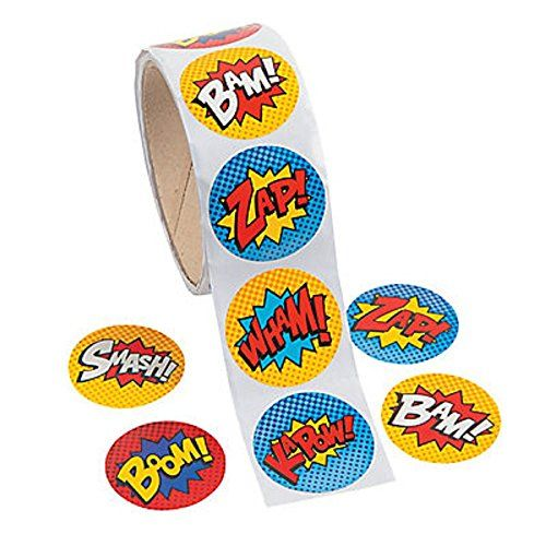Pack of 100 - Superhero Theme Stickers - Great for X-Men,Spiderman,Marvel Super Heroes Party Loot Bags MunchieMoosKids http://www.amazon.co.uk/dp/B00JV52PQ2/ref=cm_sw_r_pi_dp_OWaavb08M8KW3
